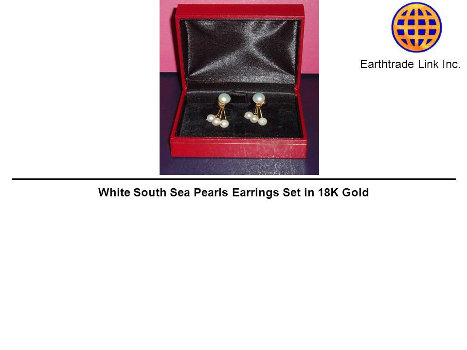 Earthtrade Link Inc. White South Sea Pearls Earrings Set in 18K Gold