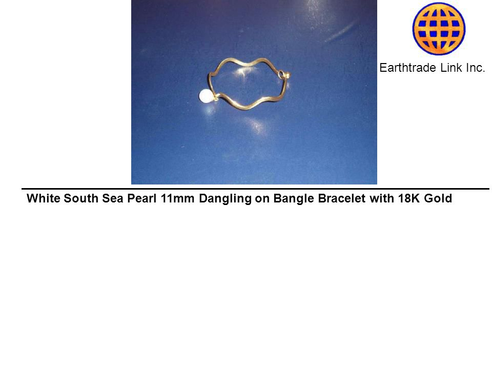 Earthtrade Link Inc. White South Sea Pearl 11mm Dangling on Bangle Bracelet with 18K Gold