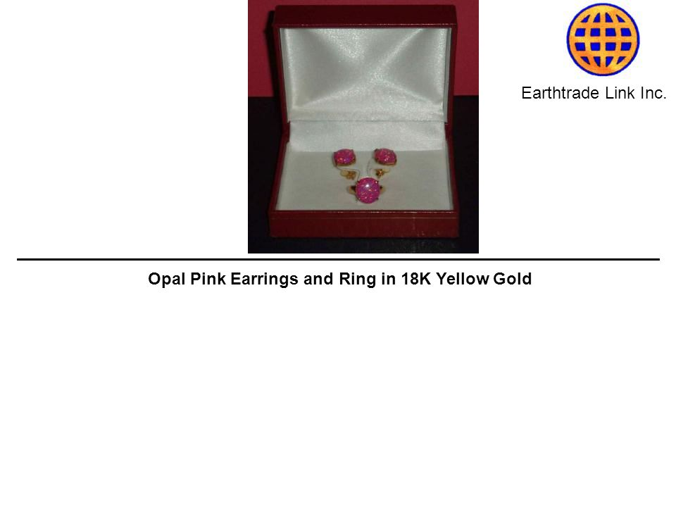 Earthtrade Link Inc. Opal Pink Earrings and Ring in 18K Yellow Gold