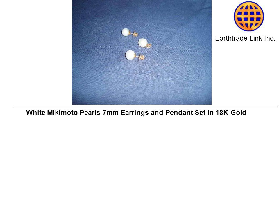 Earthtrade Link Inc. White Mikimoto Pearls 7mm Earrings and Pendant Set In 18K Gold