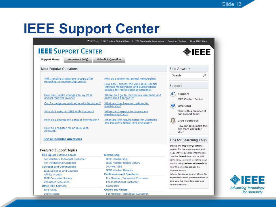 IEEE Support Center Slide 13
