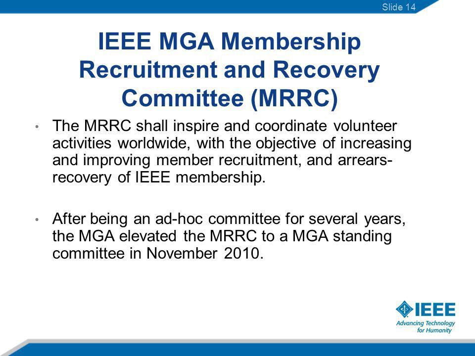 The MRRC shall inspire and coordinate volunteer activities worldwide, with the objective of increasing and improving member recruitment, and arrears- recovery of IEEE membership.