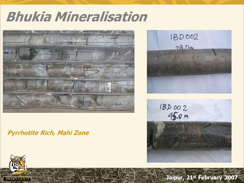 Jaipur, 21 st February 2007 Bhukia Mineralisation Pyrrhotite Rich, Mahi Zone
