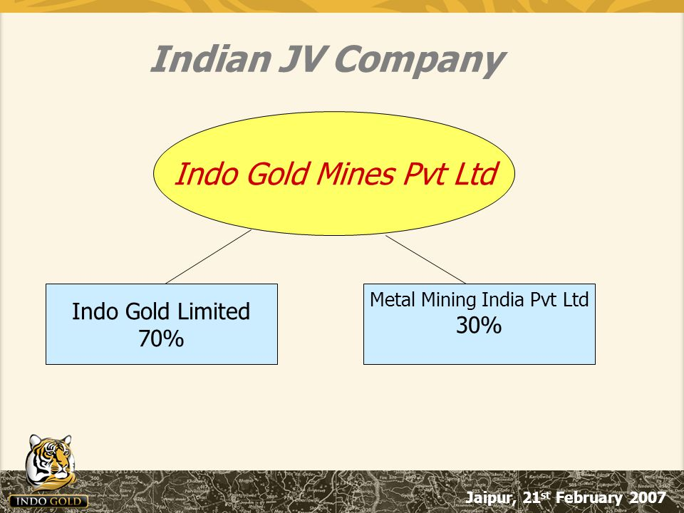 Jaipur, 21 st February 2007 Indo Gold Mines Pvt Ltd Indo Gold Limited 70% Metal Mining India Pvt Ltd 30% Indian JV Company