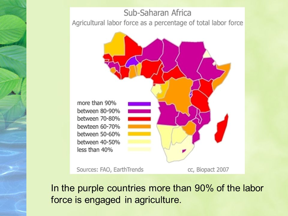 In the purple countries more than 90% of the labor force is engaged in agriculture.