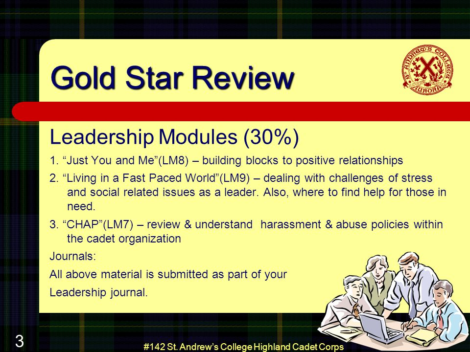 #142 St. Andrews College Highland Cadet Corps 3 Gold Star Review Leadership Modules (30%) 1.