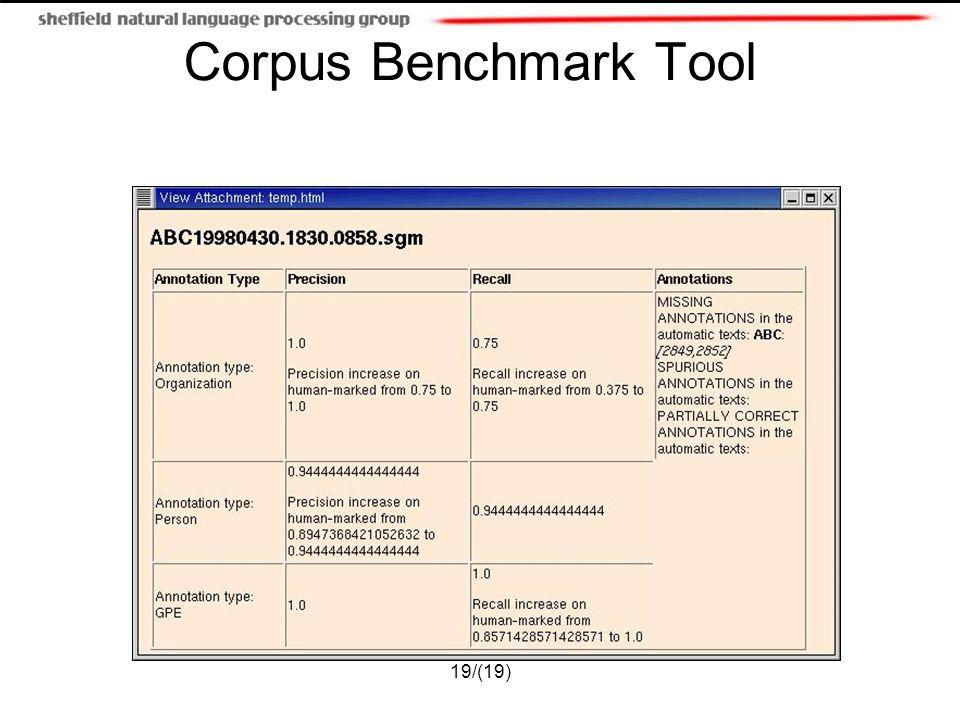19/(19) Corpus Benchmark Tool