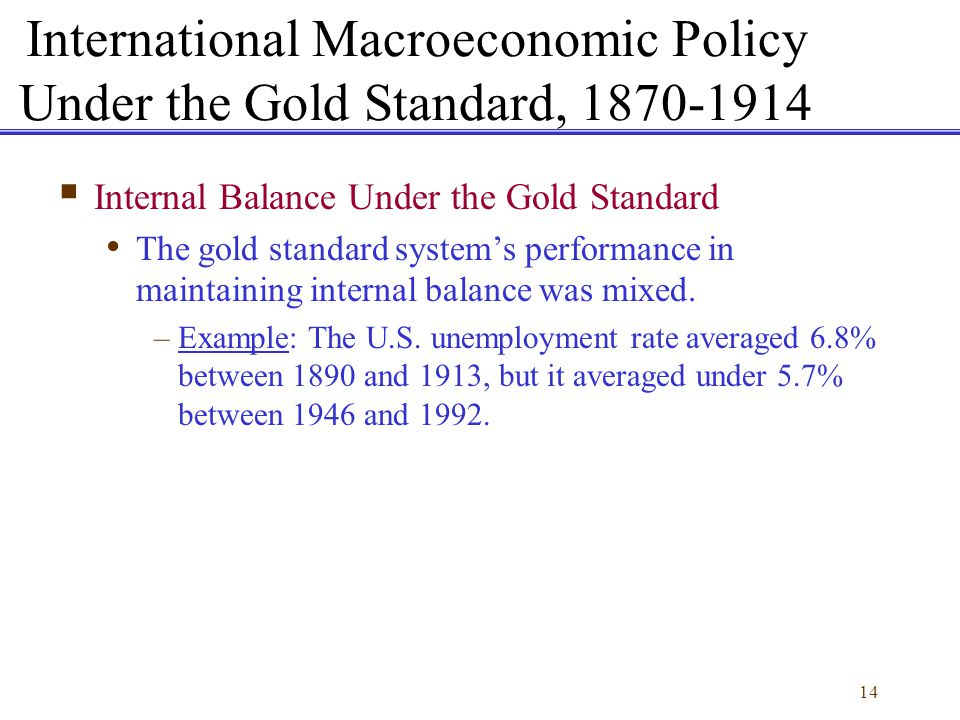14 Internal Balance Under the Gold Standard The gold standard systems performance in maintaining internal balance was mixed. –Example: The U.S. unempl
