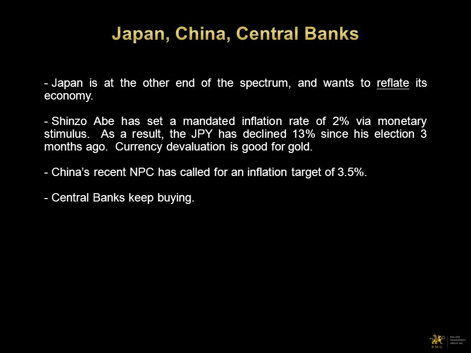 - Japan is at the other end of the spectrum, and wants to reflate its economy. - Shinzo Abe has set a mandated inflation rate of 2% via monetary stimu