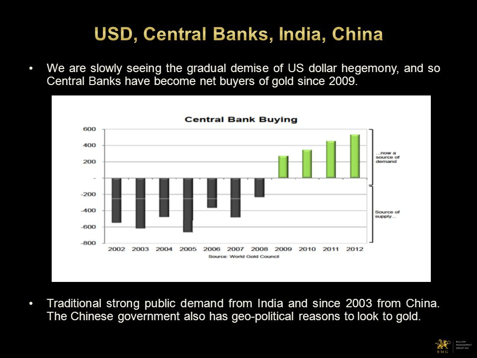 We are slowly seeing the gradual demise of US dollar hegemony, and so Central Banks have become net buyers of gold since 2009. Traditional strong publ