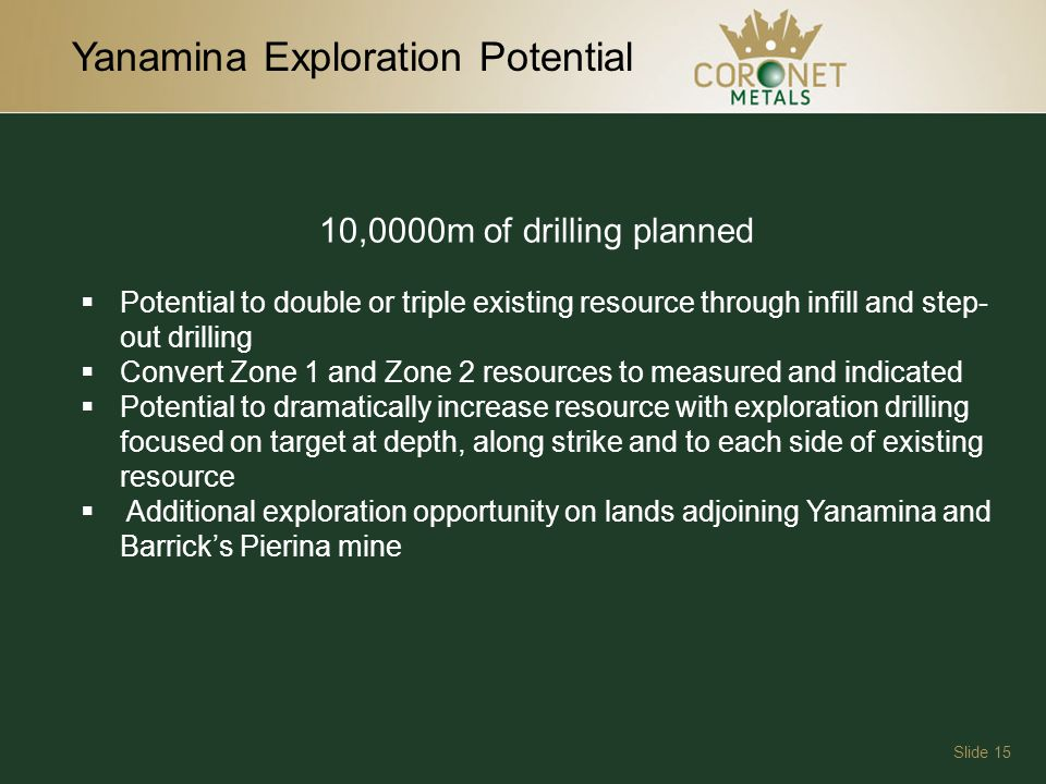 Yanamina Exploration Potential Slide 15 10,0000m of drilling planned Potential to double or triple existing resource through infill and step- out drilling Convert Zone 1 and Zone 2 resources to measured and indicated Potential to dramatically increase resource with exploration drilling focused on target at depth, along strike and to each side of existing resource Additional exploration opportunity on lands adjoining Yanamina and Barricks Pierina mine