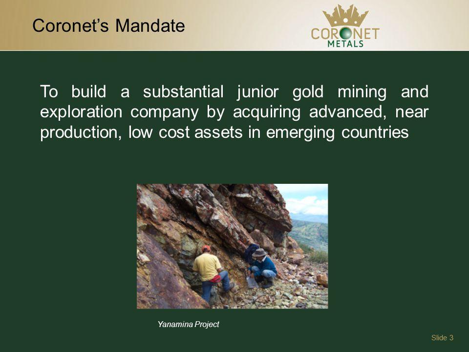 Yanamina Drilling Plan Slide 14 Proposed Exploration Program Cost Estimate Scope of WorkCost $ 10,000m Diamond Drilling$2,500,000 Social$300,000 Camp Costs$400,000 Site Management$200,000 Metallurgical Pilot Plant$200,000 Assays$100,000 Travel$50,000 Environmental Mgmt.$50,000 TOTAL$3,800,000