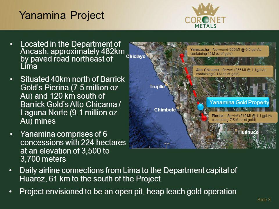 Ancash Fault Zone Slide 9 Barricks Pierina Mine Yanamina Gold Deposit Yungay Graben Gold Belt Unrealized exploration potential in lands adjoining Yanamina and Pierina 5km+/-