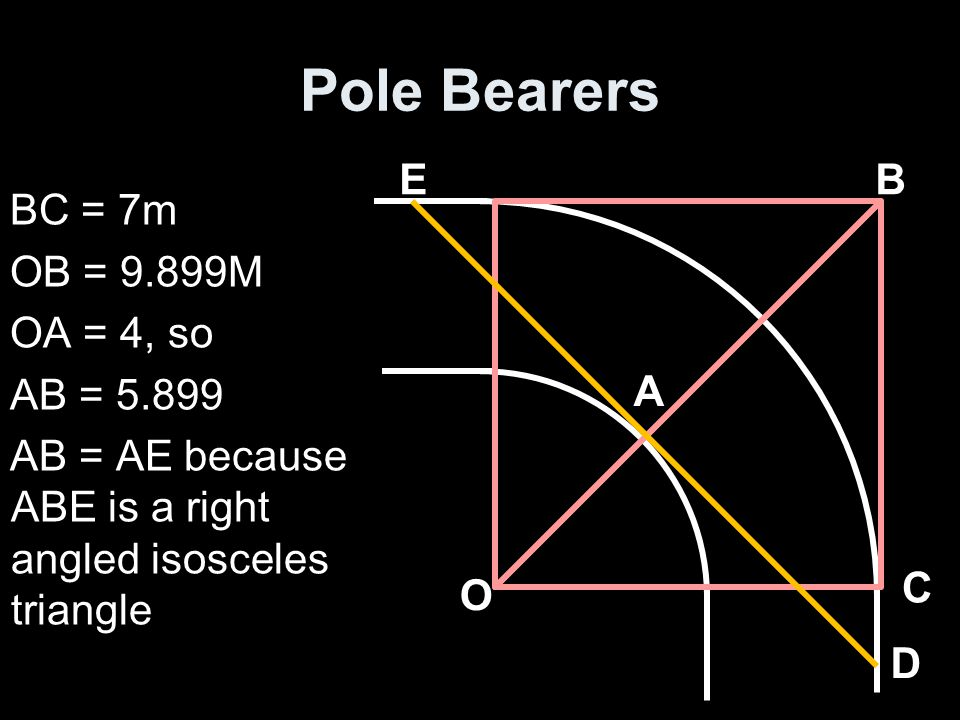 Pole Bearers BC = 7m OB = 9.899M OA = 4, so AB = 5.899 AB = AE because ABE is a right angled isosceles triangle A BE D C O