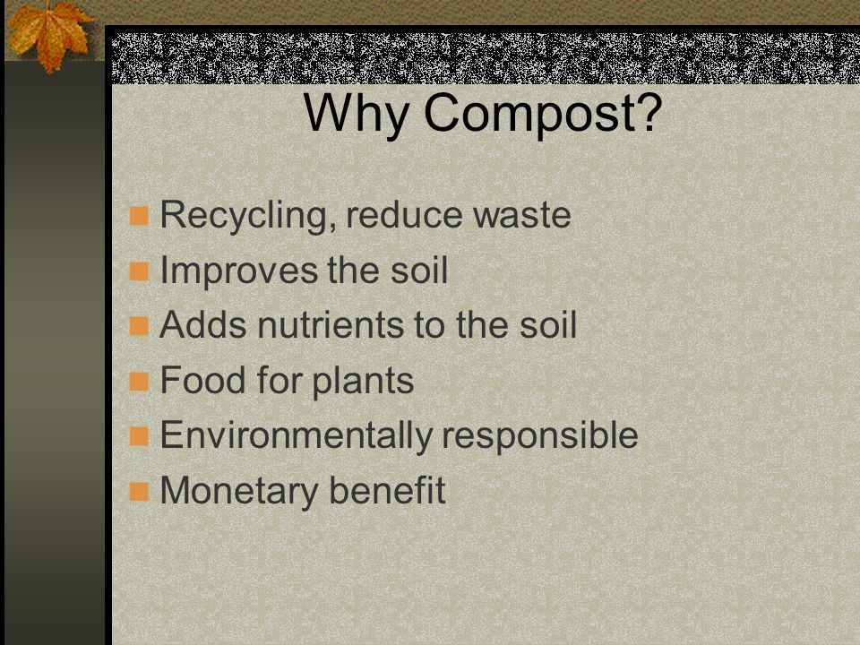 Why Compost? Recycling, reduce waste Improves the soil Adds nutrients to the soil Food for plants Environmentally responsible Monetary benefit