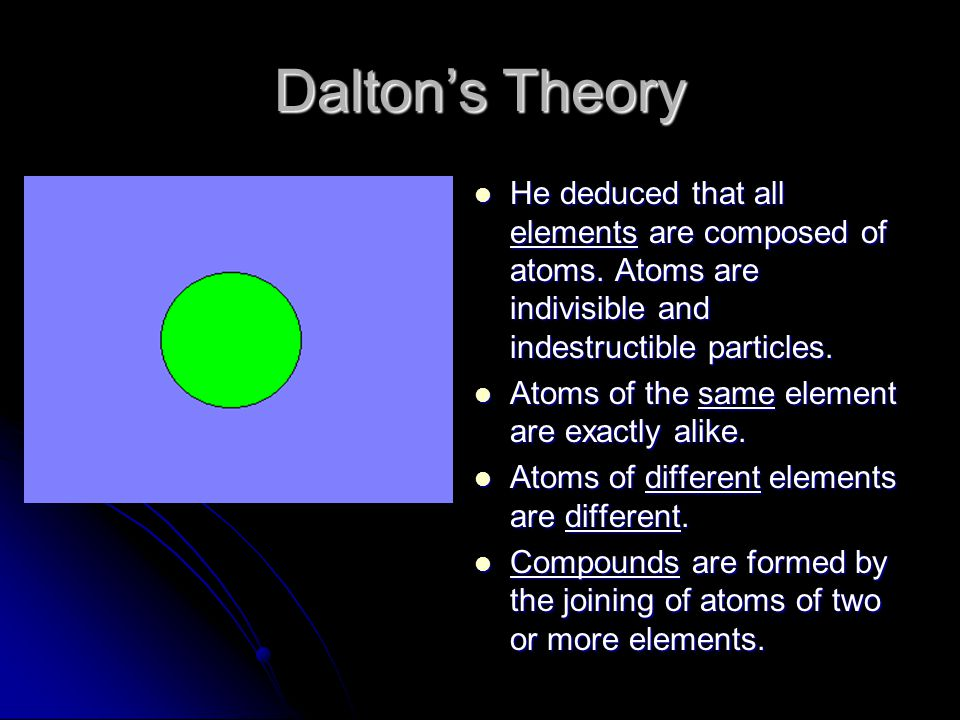 Daltons Theory He deduced that all elements are composed of atoms. Atoms are indivisible and indestructible particles. He deduced that all elements ar