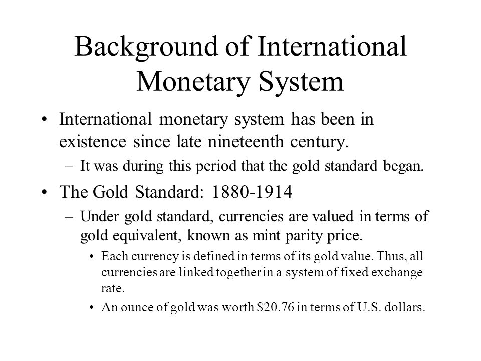 Gold Standard How it worked.
