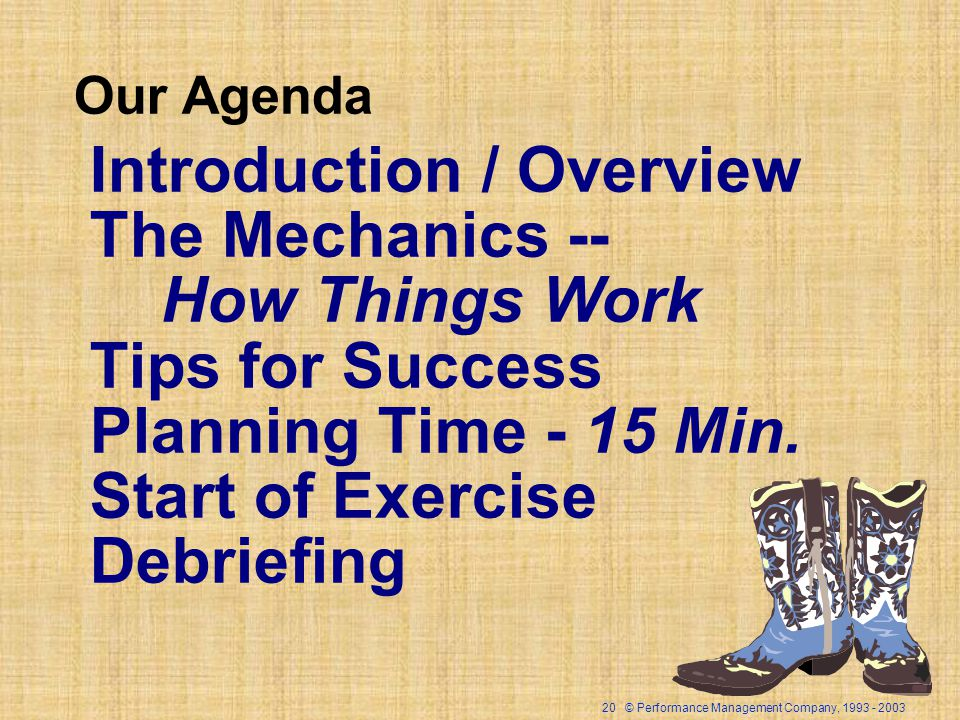 20 © Performance Management Company, Our Agenda Introduction / Overview The Mechanics -- How Things Work Tips for Success Planning Time - 15 Min.