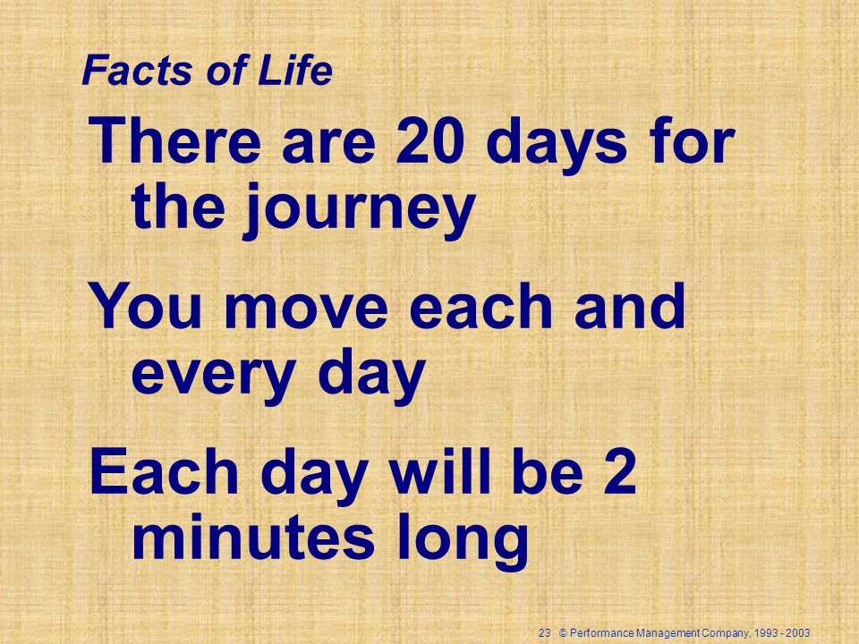 23 © Performance Management Company, There are 20 days for the journey You move each and every day Each day will be 2 minutes long Facts of Life
