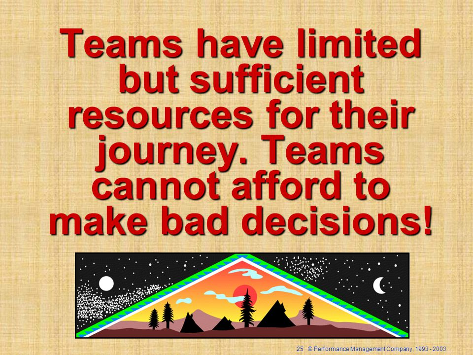 25 © Performance Management Company, Teams have limited but sufficient resources for their journey.