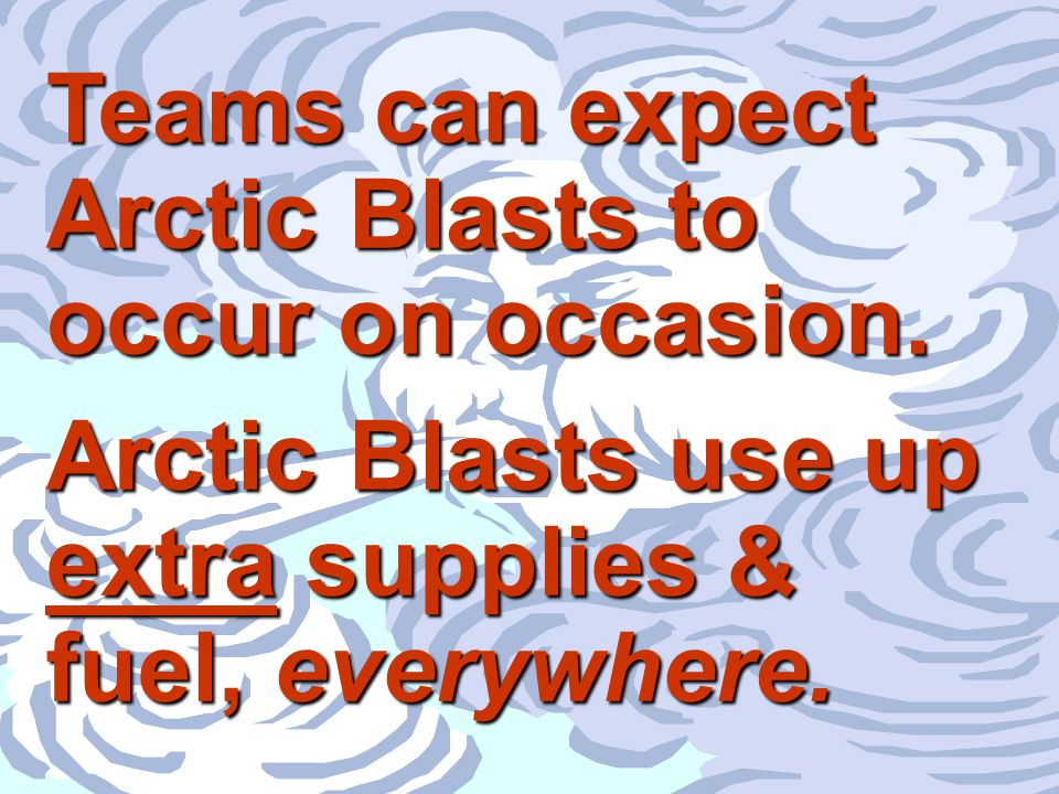 29 © Performance Management Company, 1993 - 2003 Teams can expect Arctic Blasts to occur on occasion. Arctic Blasts use up extra supplies & fuel, ever