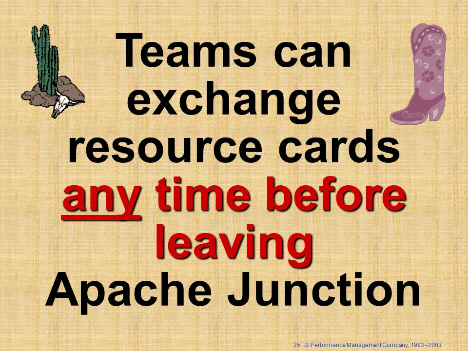 35 © Performance Management Company, 1993 - 2003 Teams can exchange resource cards any time before leaving Apache Junction