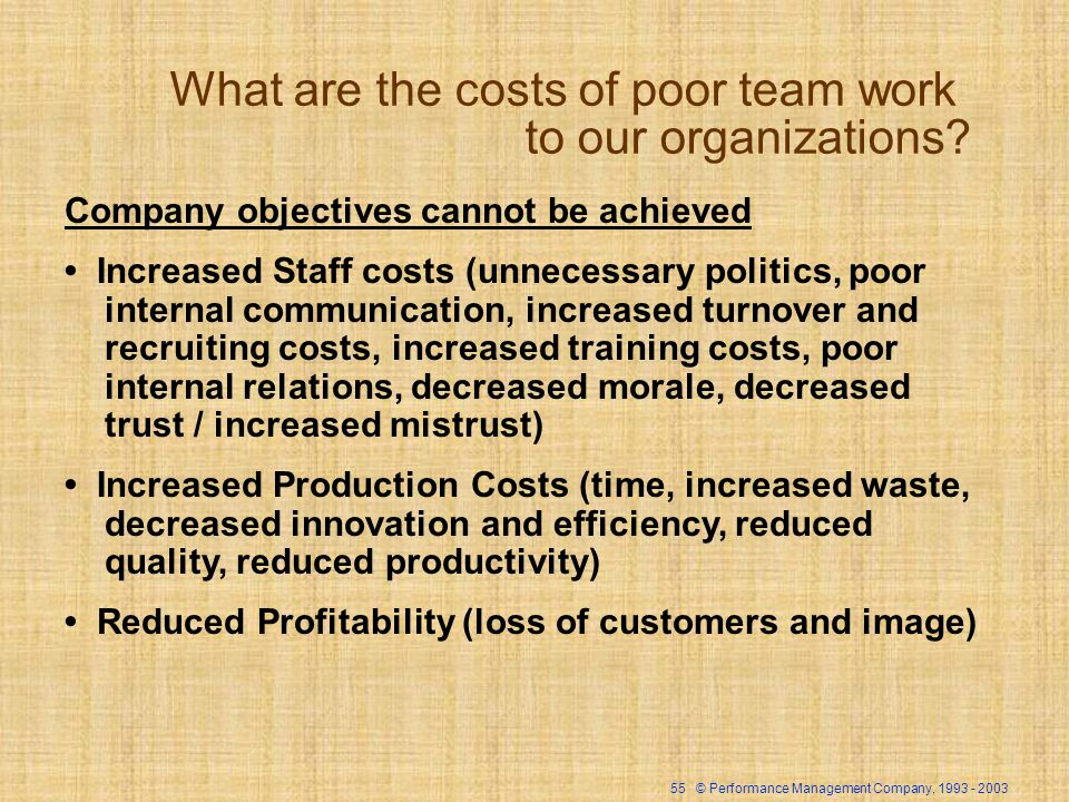 55 © Performance Management Company, 1993 - 2003 What are the costs of poor team work to our organizations? Company objectives cannot be achieved Incr