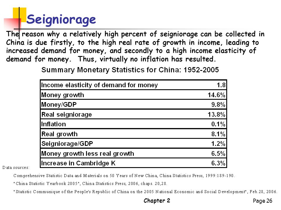 Chapter 2Page 26 Seigniorage The reason why a relatively high percent of seigniorage can be collected in China is due firstly, to the high real rate o