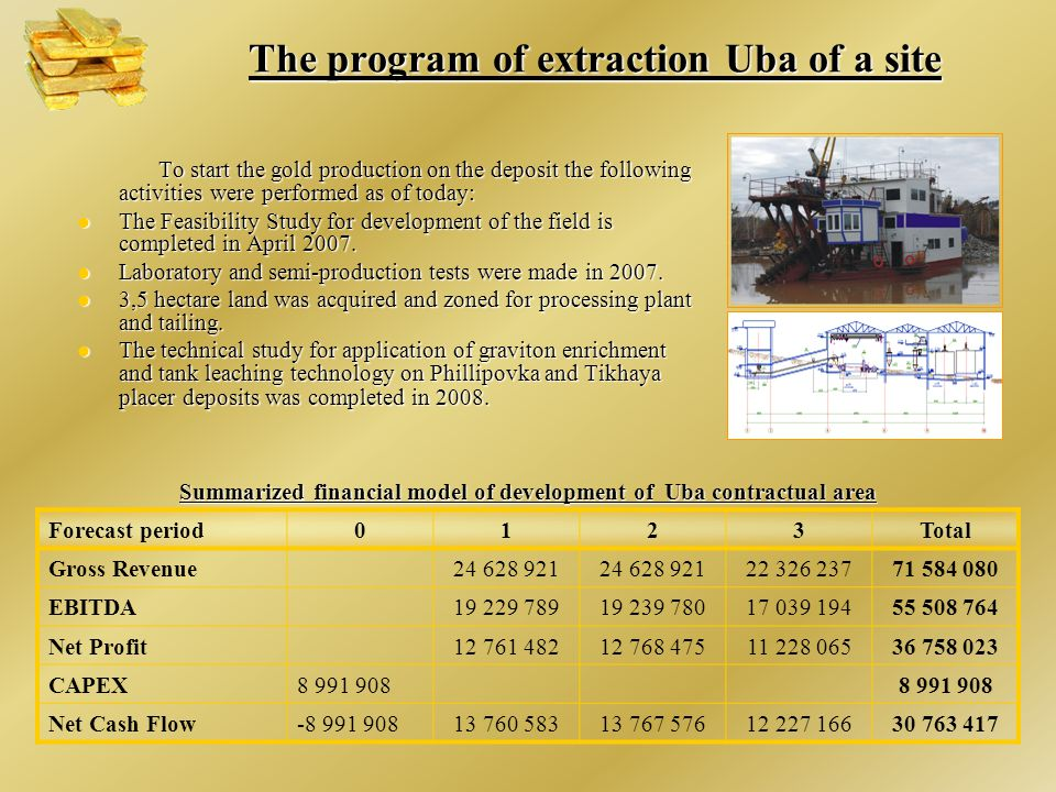The program of extraction Uba of a site To start the gold production on the deposit the following activities were performed as of today: To start the gold production on the deposit the following activities were performed as of today: The Feasibility Study for development of the field is completed in April 2007.