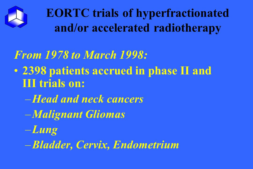 EORTC trials of hyperfractionated and/or accelerated radiotherapy From 1978 to March 1998: 2398 patients accrued in phase II and III trials on: –Head