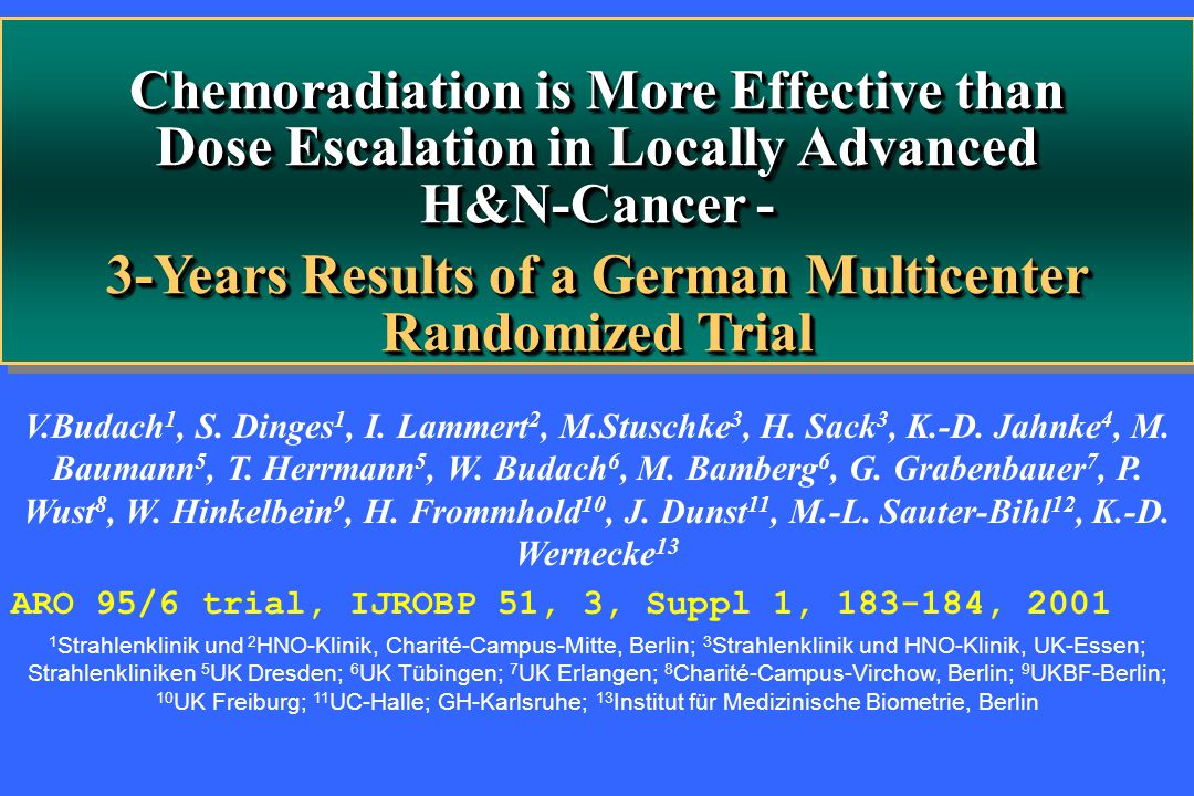 Chemoradiation is More Effective than Dose Escalation in Locally Advanced H&N-Cancer - 3-Years Results of a German Multicenter Randomized Trial Chemor