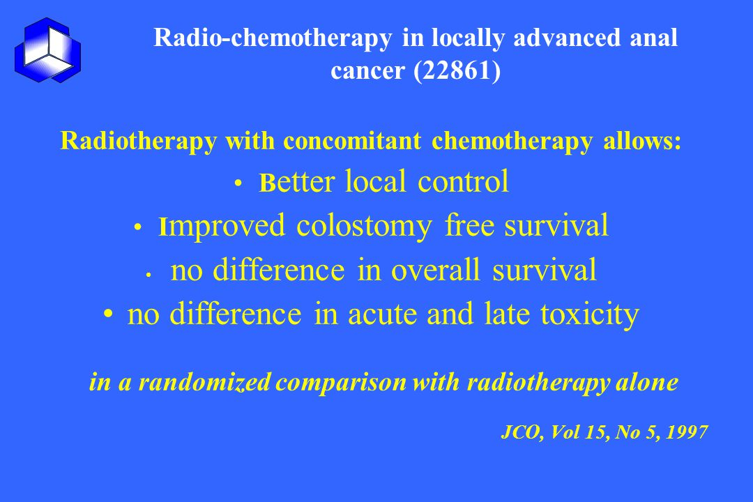 Radio-chemotherapy in locally advanced anal cancer (22861) Radiotherapy with concomitant chemotherapy allows: B etter local control I mproved colostom