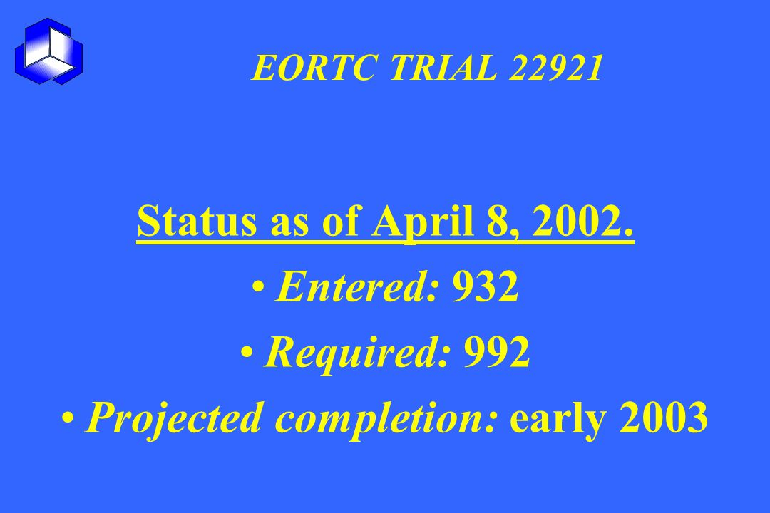 EORTC TRIAL 22921 Status as of April 8, 2002. Entered: 932 Required: 992 Projected completion: early 2003