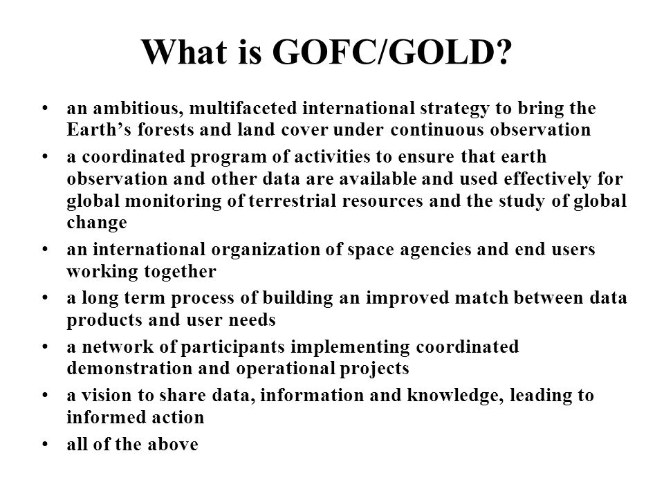 GOFC/GOLD-Fire Workshops and Meetings GOFC Fire Coordination Workshop – JRC Ispra (1999) S Africa Miombo/GOFC Fire Workshop – Matopos (1999) SAFNET Burned Area Validation Protocols.