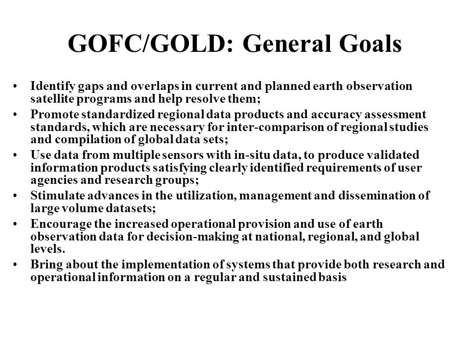GOFC/GOLD – Fire: Implementation Team Members Olivier Arino, ESA/ESRIN, Italy (ATSR, Envisat, GLOBCARB) Emilio Chuvieco, U.