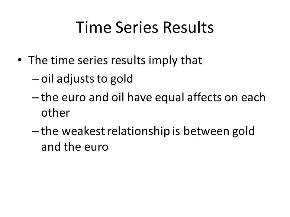 Time Series Results The time series results imply that – oil adjusts to gold – the euro and oil have equal affects on each other – the weakest relationship is between gold and the euro