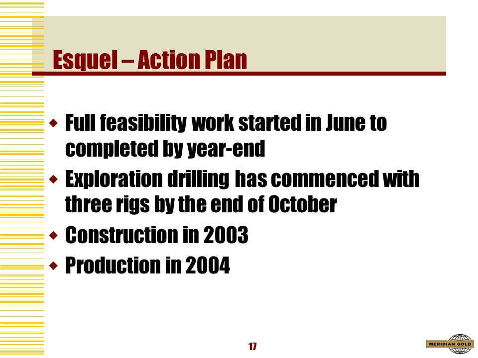 17 Esquel – Action Plan Full feasibility work started in June to completed by year-end Exploration drilling has commenced with three rigs by the end of October Construction in 2003 Production in 2004