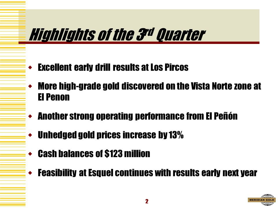 2 Highlights of the 3 rd Quarter Excellent early drill results at Los Pircos More high-grade gold discovered on the Vista Norte zone at El Penon Another strong operating performance from El Peñón Unhedged gold prices increase by 13% Cash balances of $123 million Feasibility at Esquel continues with results early next year
