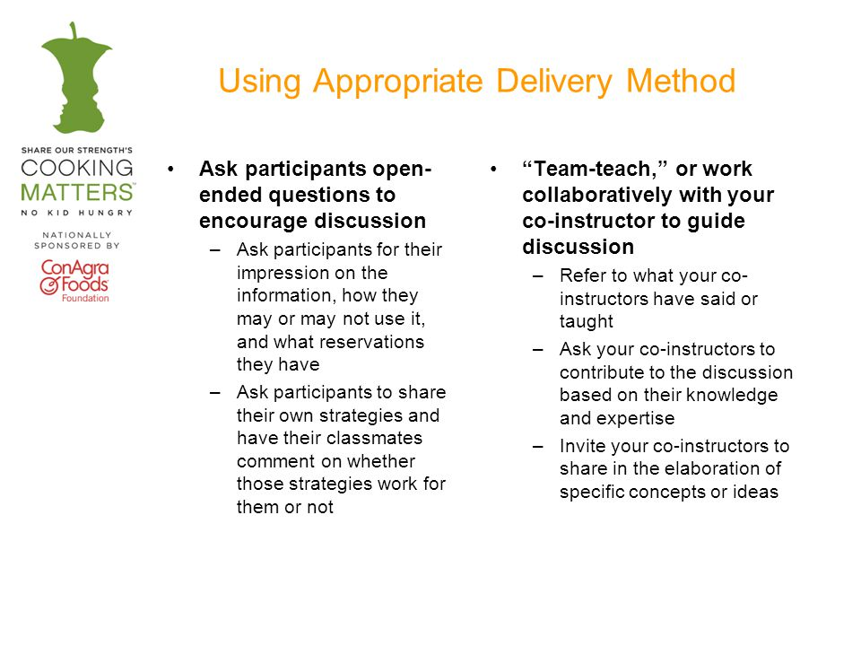 Using Appropriate Delivery Method Ask participants open- ended questions to encourage discussion –Ask participants for their impression on the information, how they may or may not use it, and what reservations they have –Ask participants to share their own strategies and have their classmates comment on whether those strategies work for them or not Team-teach, or work collaboratively with your co-instructor to guide discussion –Refer to what your co- instructors have said or taught –Ask your co-instructors to contribute to the discussion based on their knowledge and expertise –Invite your co-instructors to share in the elaboration of specific concepts or ideas