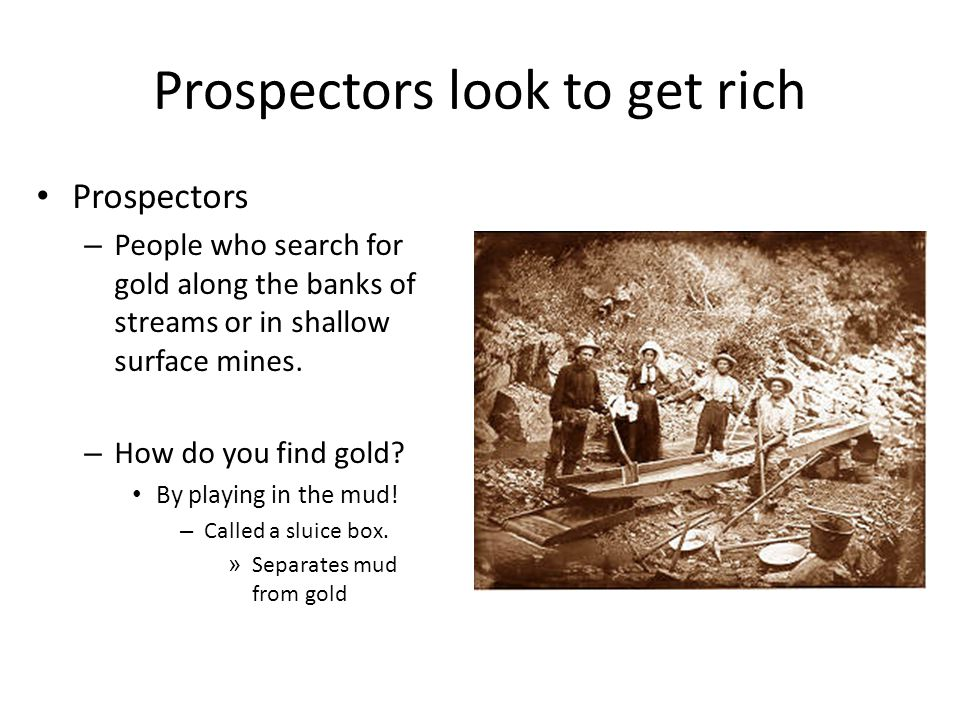 Prospectors look to get rich Prospectors – People who search for gold along the banks of streams or in shallow surface mines.