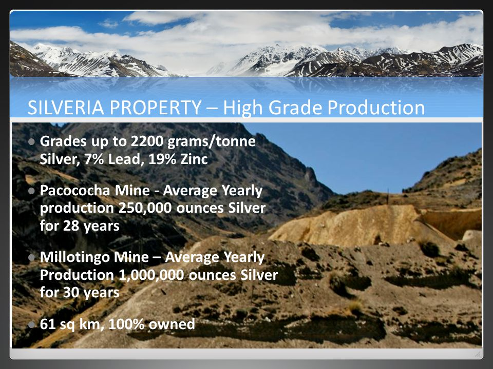 SILVERIA PROPERTY – High Grade Production Grades up to 2200 grams/tonne Silver, 7% Lead, 19% Zinc Pacococha Mine - Average Yearly production 250,000 ounces Silver for 28 years Millotingo Mine – Average Yearly Production 1,000,000 ounces Silver for 30 years 61 sq km, 100% owned