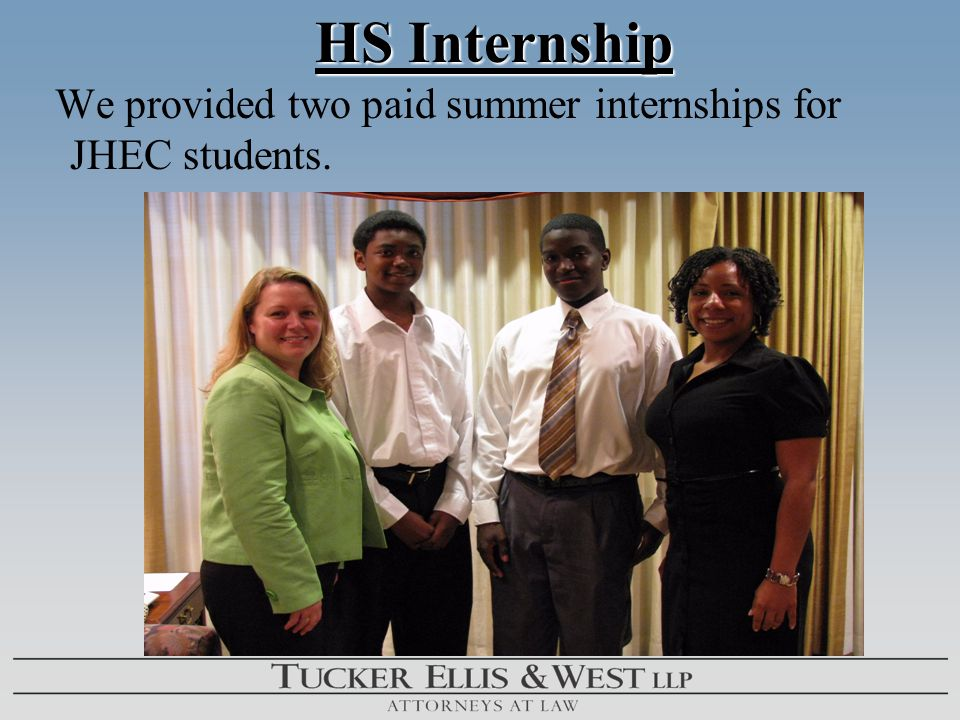 HS Internship HS Internship We provided two paid summer internships for JHEC students.