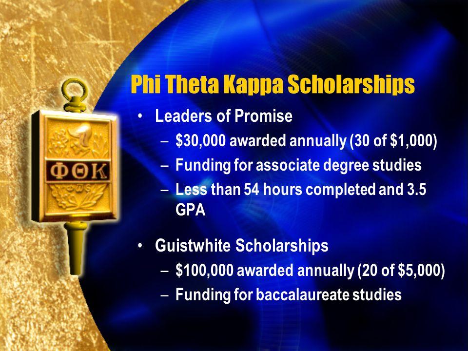 Phi Theta Kappa Scholarships Leaders of Promise – $30,000 awarded annually (30 of $1,000) – Funding for associate degree studies – Less than 54 hours