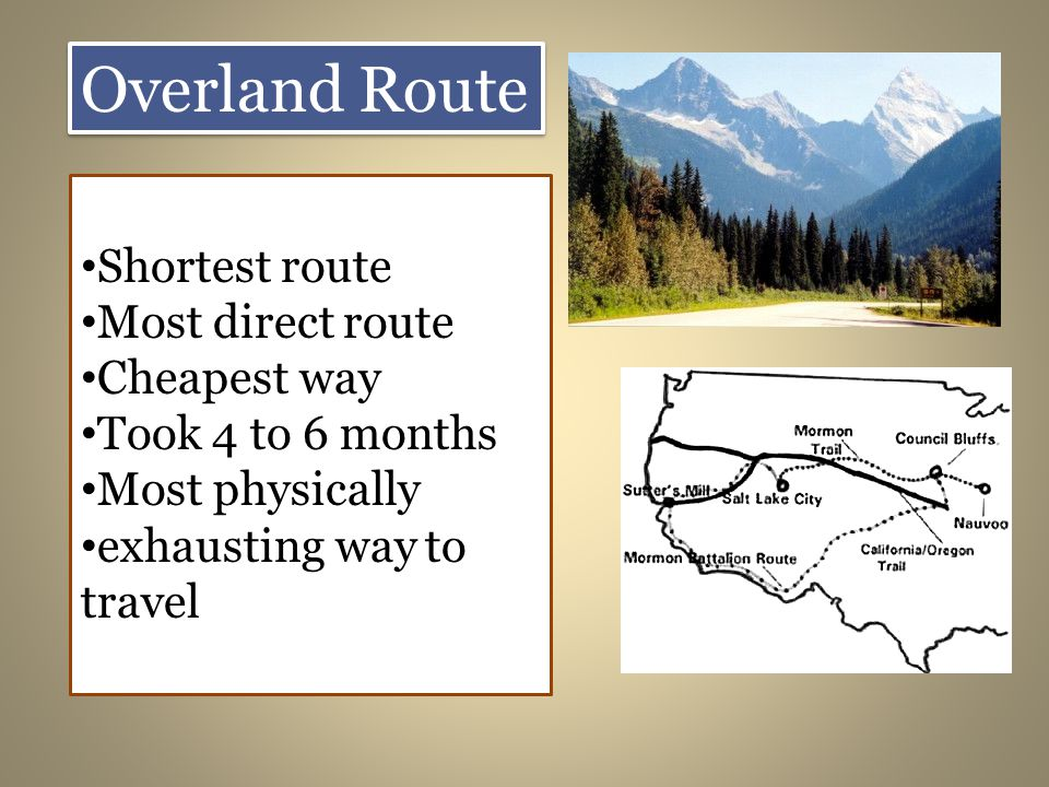 Overland Route Shortest route Most direct route Cheapest way Took 4 to 6 months Most physically exhausting way to travel