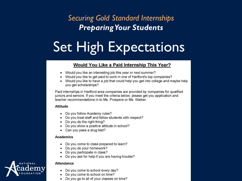 Set High Expectations Securing Gold Standard Internships Preparing Your Students