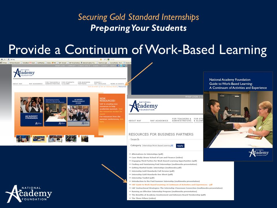 Provide a Continuum of Work-Based Learning