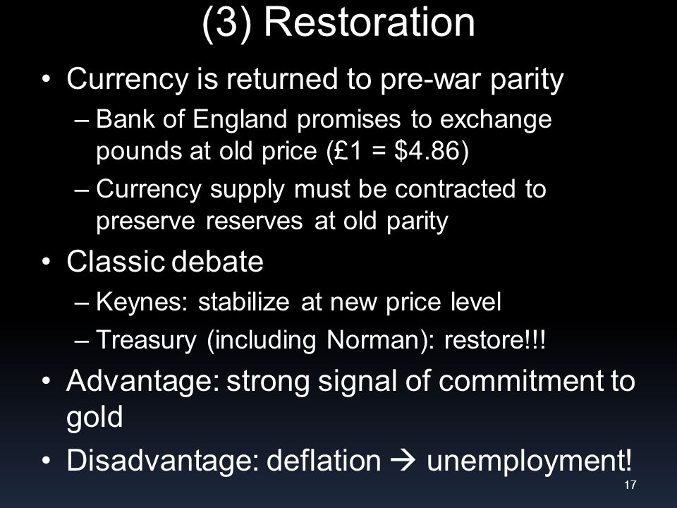 (3) Restoration Currency is returned to pre-war parity –Bank of England promises to exchange pounds at old price (£1 = $4.86) –Currency supply must be contracted to preserve reserves at old parity Classic debate –Keynes: stabilize at new price level –Treasury (including Norman): restore!!.