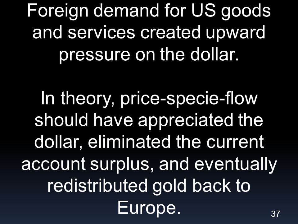 Foreign demand for US goods and services created upward pressure on the dollar.
