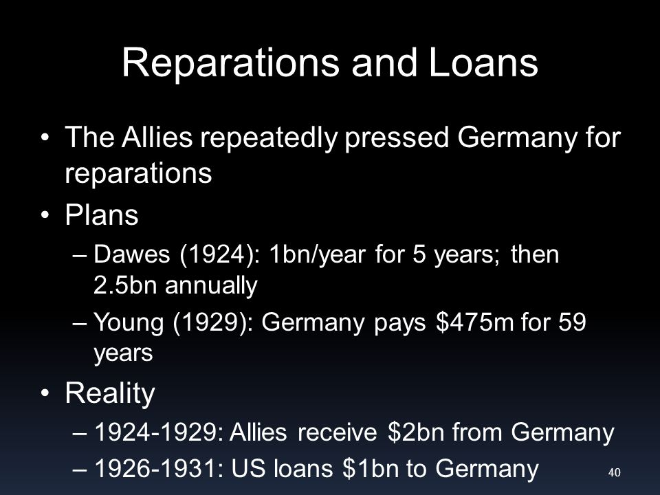 Reparations and Loans The Allies repeatedly pressed Germany for reparations Plans –Dawes (1924): 1bn/year for 5 years; then 2.5bn annually –Young (1929): Germany pays $475m for 59 years Reality –1924-1929: Allies receive $2bn from Germany –1926-1931: US loans $1bn to Germany 40