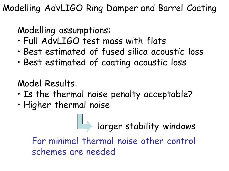 Modelling assumptions: Full AdvLIGO test mass with flats Best estimated of fused silica acoustic loss Best estimated of coating acoustic loss Model Re